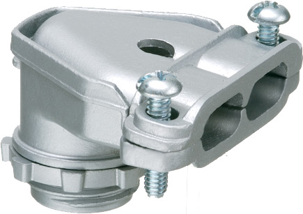 """90 degree zinc die-cast duplex connector with a twin screw strap. Secures into 1/2"""" knockout with a locknut."""