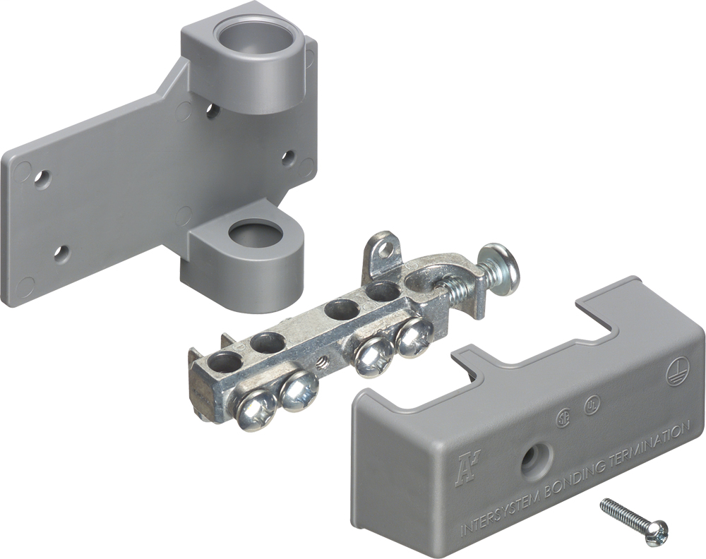 Intersystem grounding bridge, has 4 termination points, one more than required by the NEC. Cable range 4 termination points for #4 to #14 solid or stranded. Ataches to grounding conductor with lay in style lug with a cable range of #6 to #2 grounding wire