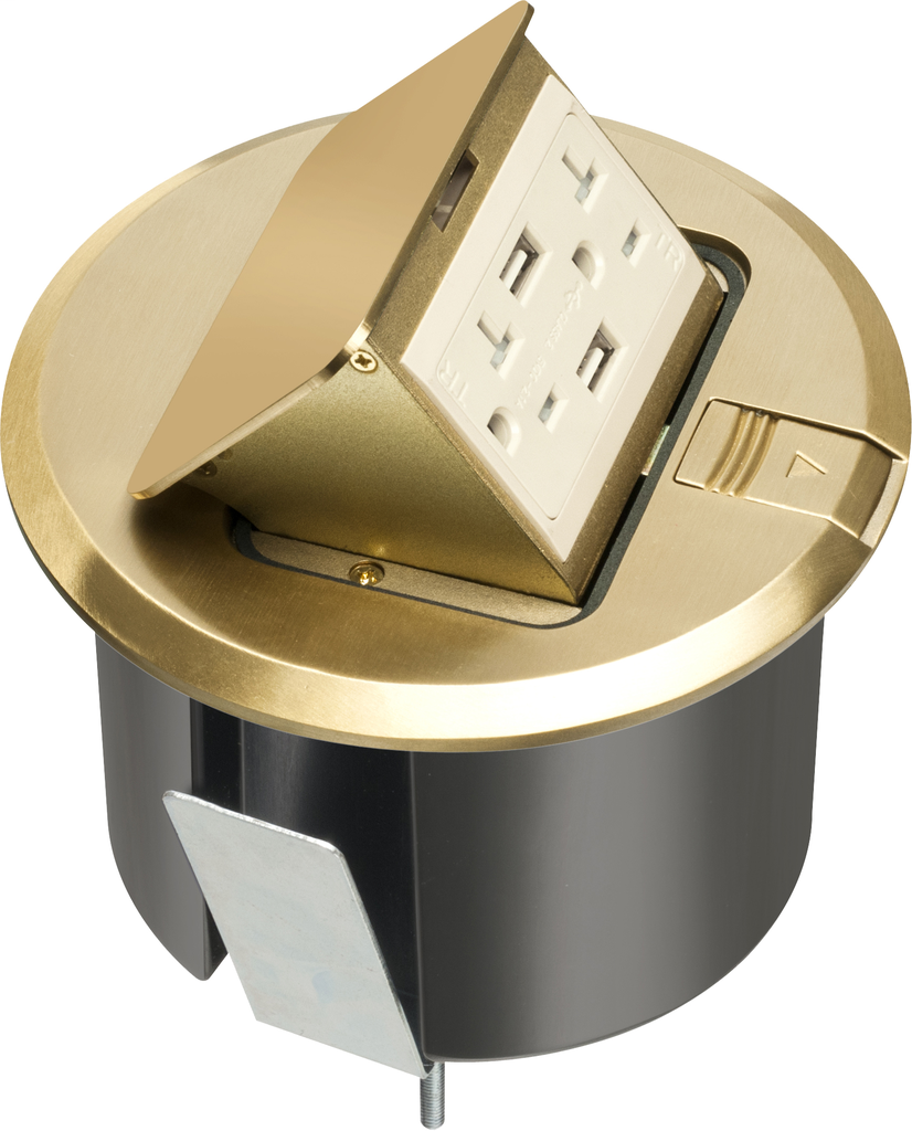ARLINGTON Pop up counter top box kit with round brass plated cover. With Round plastic box. Comes with 20 amp decorator style tamper resistant receptacle with (2) USB ports.