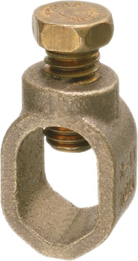 """Mayer-Ground Rod Clamp, Rod Size 5/8"""", Conductor range #8 solid and #2 stranded. Solid Brass alloy with bronze screw. Approved for direct burial.-1"""