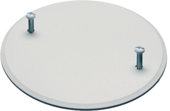"""box cover. Covers 4 inch round or octaganal boxes paintable, reusable. Comes with white painted screws to blend with cover. (ARL CP40 4"""" BOX COVER WI SCREWS)"""