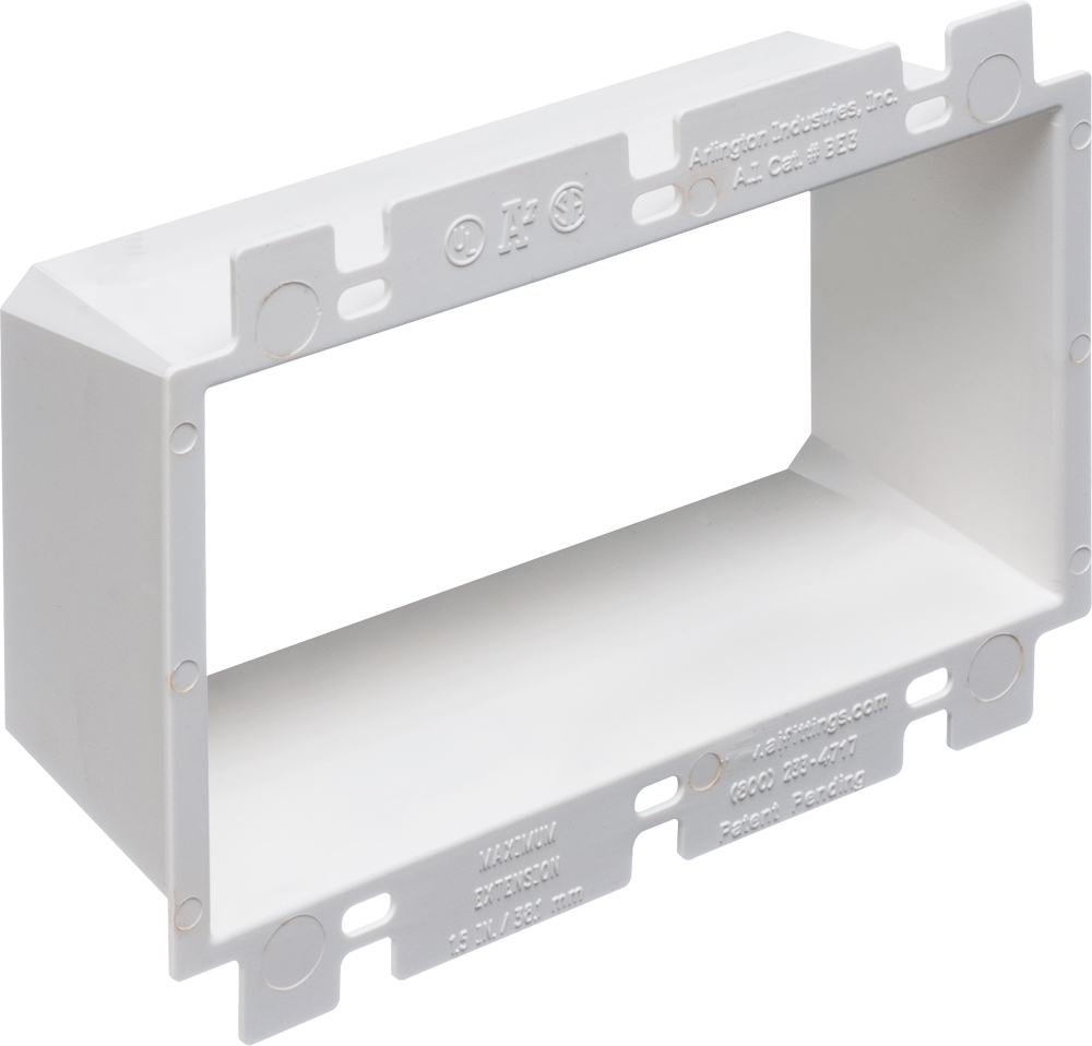 Box Extender, levels and supports the wiring device where the box is set back from the wall surface extends the box up to an 1-1/2. 2 hour fire rating. three gang.