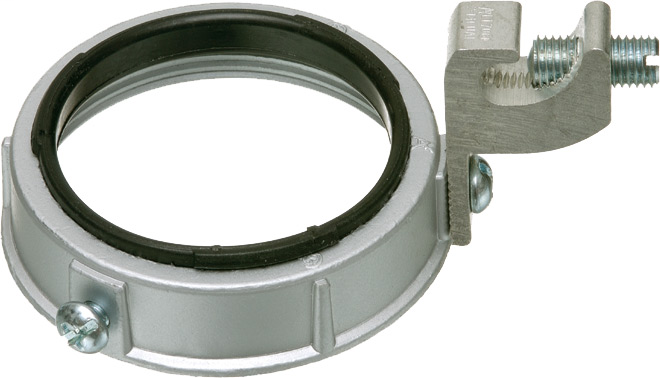 "Mayer-1"" Insulated Metal grounding bushing, threaded with dual ratings for copper and aluminum. lay in style grounding lug, Zinc Die-cast. 150 degree C-1"