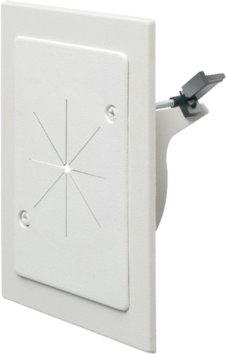 "Cable entry bracket with slotted cover. White. Installs with 3-1/2 hole saw. Fits wall thicknessess from 1/4"" to 1-1/2"""
