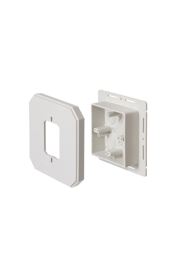 Works on all siding types. Before or after siding is up, Mounting holes on inside of box. Textured paintable surface. NM cable connector provided. 6-1/2 x 6-1/2 mounting surface. Provides a .895 J-channel. 24.5 cubic inch box. With Flange.