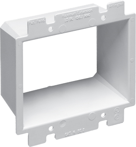 Mayer-Box Extender, levels and supports the wiring device where the box is set back from the wall surface extends the box up to an 1-1/2. 2 hour fire rating. two gang.-1