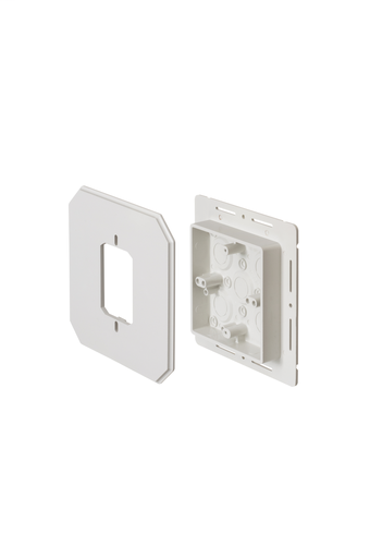Mayer-Works on all siding types. Before or after siding is up, Mounting holes on inside of box. Textured paintable surface. NM cable connector provided. 6-1/2 x 6-1/2 mounting surface. Provides a .895 J-channel. 15-1/2 cubic inch box. With Flange.-1
