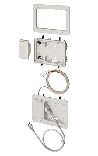 """Low Profile non metallic TV BOX BRIDGE kit. For a flush to the wall installation as shallow as 3/4"""". For new or old construction. Fits also on 2x2, 2x3 and 2x4 studs."""