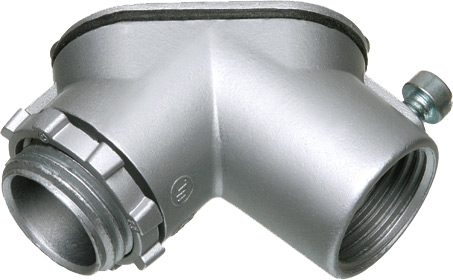 """Combination threaded rigid and set screw EMT to box. 90 degree pulling elbow with cover and gasket. Zinc die-cast. Trade Size 3/4""""."""