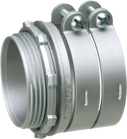 """Zinc die-cast, two screw, 3-1/2"""" knockout squeeze connector with round end stop. For Flex, AC, MCI cable. Concrete tight when taped. End stop diameter: 3.478"""