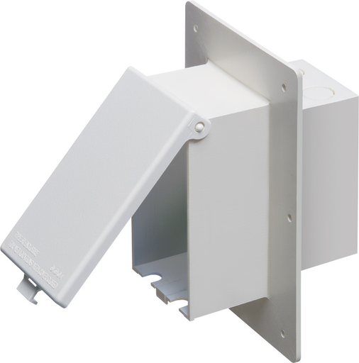 "Mayer-Low profile inbox for 1-1/2"" wall systems. Vertical with weatherproof while in use white paintable cover.-1"