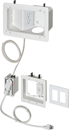 Recessed prewired TV BRIDGE kit with angled 1 gang power. Allows power to be bridged from one stud bay to the bridge kit.