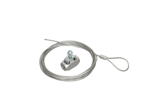 Galvanaized braided support wire with looped end. 20ft length. Holds up to 75lbs. .080 wire