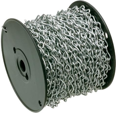 Mayer-Zinc plated steel jack chain. 100 feet per steel reel. Maximum load limit, 25lbs.-1