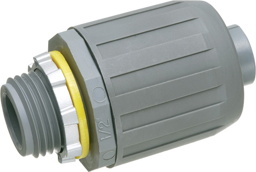 """Mayer-Non Metallic sraight snap2it connector for use with non metallic liquid tight conduit type B only. Push on installation. 1/2"""" Trade Size.-1"""