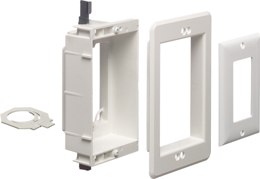 Recessed low voltage mounting bracket for old or new connstruction. Designed to install low voltage class 2 wiring only. White Paintable. Single Gang.
