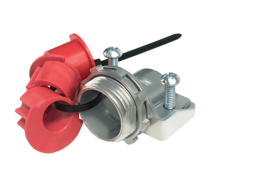 """For steel and aluminum cable, Zinc die-cast MC feeder cable connector with a steel strap. Including an end stop that comes with additional end stop bushings for a wider range of cables. Secures into a 2-1/2"""" knockout with a steel locknut. Concrete tight w"""