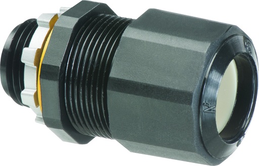Low-profile non-metallic, liquid-tight, oil-tight, and black strain relief cord connector furnished with a sealing ring and locknut. Supports .385 to .750 cord range with a 3/4 inch trade size.