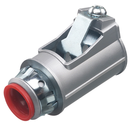 "Zinc die-cast, 1/2"" Knockout MC cable connector snaps quickly on to the conduit with a removable screw in spring steel clip and then snaps into knockout with external spring steel clip, no tools required. Concrete tight when taped. Comes with Insulated th"