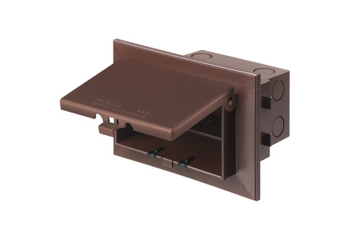 Mayer-Low profile inbox for new brick construction. Recessed electrical box with weather proof in use cover. Horizontal. Brown with brown cover.-1