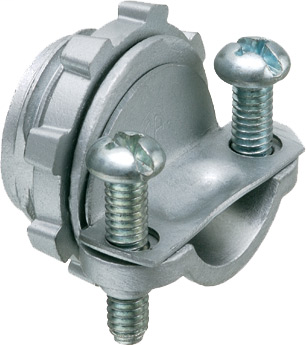 Mayer-NM cable connector zinc die-cast. 2 screw clamp type. Handles combinations of NM cable from #14 to #10. Up to 3 NM cables at one time.-1
