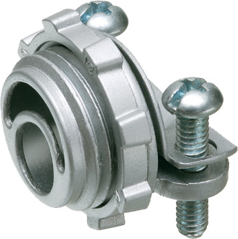 """Zinc die-cast, 1-1/4"""" knockout cable connector with round end stop. End stop diameter: 1.030. Secures to knockout with a locknut."""