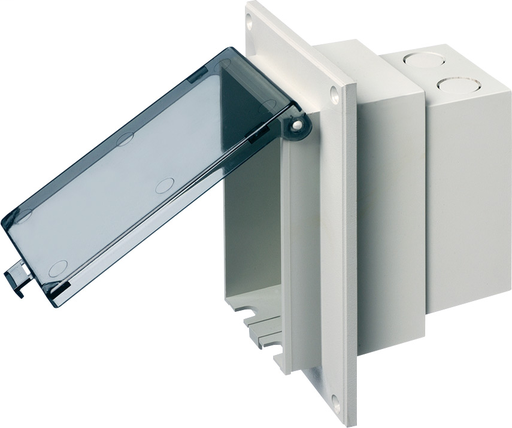 Mayer-Low profile InBox for flat surface retro fit construction. With weather proof while in use Extra Duty clear cover. Single gang mounted vertically.-1