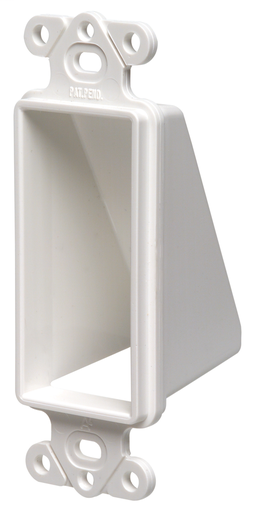 Mayer-Reversable non metallic cable entrance hood for existing cables. Single Gang. Color White. Decorator Device Style. Includes two #6 screws.-1