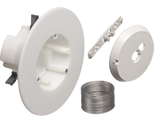 """CAM-BOX kit for installation of security camera. Non-metallic, 27.0 cu. Rated up to 50lb on suspended ceiling or drywall in combination with dropwire. Installs with 4"""" hole saw. Rated 10lbs on drywall ceilings without dropwire. Rated 7lbs on walls. Box ha"""