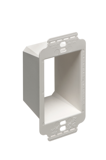 Mayer-Better device support in oversized or misscut wall opennings. Box Extender, levels and supports the wiring device where the box is set back from the wall surface extends the box up to an 1-1/2. 2 hour fire rating. Single Gang.-1