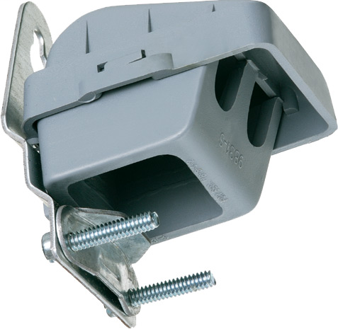 PVC entrace cap with galvanized steel strap. Wire Size (2)1/0, 2 4/0. Wire Hole Size, two at .69