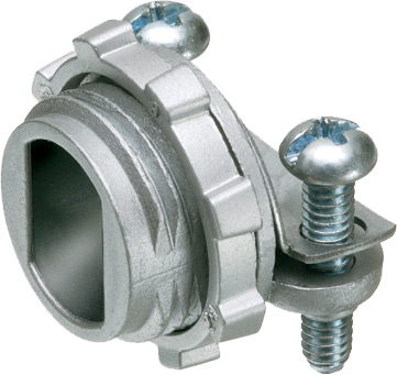 """Zinc die-cast, 1/2"""" knockout cable connector with rectangular end stop. End stop diameter: .400x.580. Also accomodates MCI-A cable ranges. Secures into knockout with a locknut."""