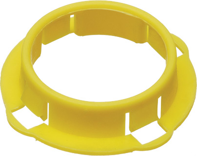 Non-metallic yellow stud bushing that fits into a 1 inch knockout, sold in a quantity of 1000.
