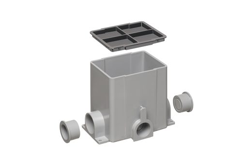 """SIngle gang non metallic gangable floor box up to 3 gang. Rectangular. Includes (2) 1-1/4"""" plugs and a mud cover."""