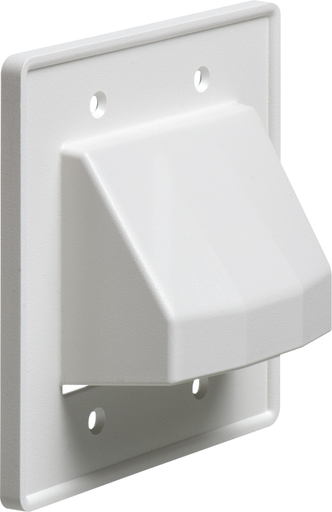 Reversable non metallic cable entrance plate for existing cables. two Gang. Includes screws that match plate color. Color White