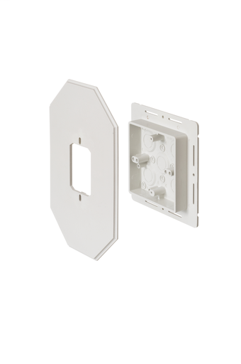 Works on all siding types. Before or after siding is up, Mounting holes on inside of box. Textured paintable surface. NM cable connector provided. 6-1/2 x 10-1/2 mounting surface. Provides a .895 J-channel. 15-1/2 cubic inch box.With Flange