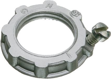 "Zinc Die cast grounding locknut for rigid conduit. Trade Size 3/4""."