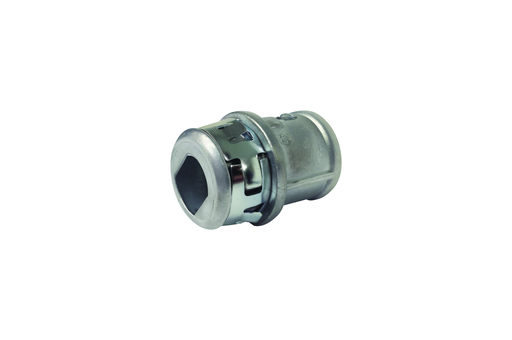 """Zinc die-cast, 1/2"""" Knockout MC cable connector snaps quickly on to the conduit with internal spring steel clip and then snaps into knockout with an external spring steel clip, no tools required. Concrete tight when taped. Has Rectangualer End stop."""