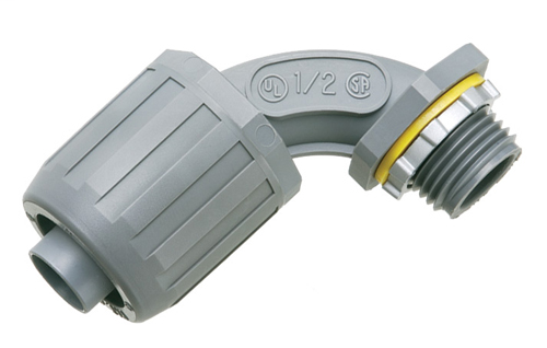 """Mayer-Non Metallic 90 degree snap2it connector for use with non metallic liquid tight conduit type B only. Push on installation. 1/2"""" Trade Size.-1"""