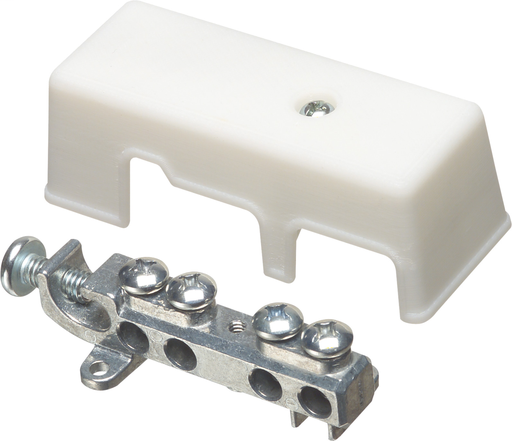 Mayer-Intersystem grounding bridge, has 4 termination points, one more than required by the NEC. Cable range 4 termination points for #4 to #14 solid or stranded. Ataches to grounding conductor with lay in style lug with a cable range of #6 to #2 grounding wire solid or stranded. Zinc with white Cover.-1