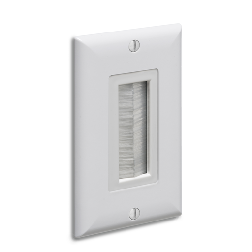 Mayer-Cable entry device with brush style cover. White Non-metallic. Includes two #6 screws. Comes with wall plate-1
