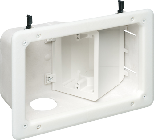 Plastic recessed TV BOX with angled opening for new or old construction. Combo box for power and low voltage. paintable trim plate.