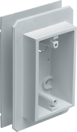 Mayer-Weatherproof device outlet box for installing on all types of siding. Installs before or after siding is up vertically or horizontally. Paintable. 19.4 cu. in.-1