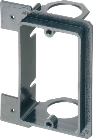 "Low voltage bracket for new construction. Mounts vertical on wood or metal studs. Non Metallic. Single Gang. For class 2 low voltage wiring. Built in 3/4"" Knockout."