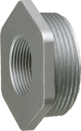 4 x 3-1/2 Hex head reducing bushing, zinc die-cast, mantains ground path and able to pass ul high current testing.