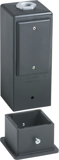 """Gard-N-Post. 9"""" Post/ Deck Mount support for outdoor light fixtures and or a GFCI wiring device. two 1/2"""" knockouts. two peice design. Base mounts directly to deck or post. Post mounts to base with set screws. Metal Grounding bushing assembly included. Co"""