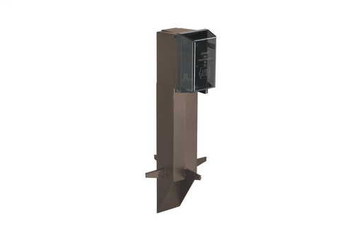 "Gard-N-Post. 19.5"" support for GFCI devices outdoors. Built in stablaizers need to assembly. Opennings in stabalizers allow for insertion of extra support material. Angle Cut post for easy acces to unground wiring. two 1/2"" Knockouts. Color Brown. Color i"