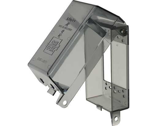"""Dri-box adapter with non metallic cover and base. Accepts any wiring device and standard sized wall plate for a versatile NEMA 3R rated installation. Adapter is for a vertically mounted single gang box and has a clear cover. The depth is 2.9""""."""
