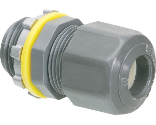 Low-profile non-metallic, liquid-tight, oil-tight, and strain relief cord connector furnished with a sealing ring and locknut. Supports .100 to .300 cord range. Includes assembled LPCG50 UF grommet 14/2 to 12/2 and cord grommet .100 to .300.