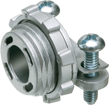 """Mayer-Zinc die-cast, 1/2"""" knockout cable connector with round end stop. End stop diameter: .400. Also accomodates MCI-A cable ranges. Secures into knockout with a locknut.-1"""